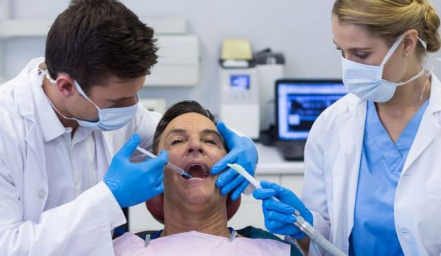 Anesthesia injection by dentist into patients mouth - Vallejo, CA