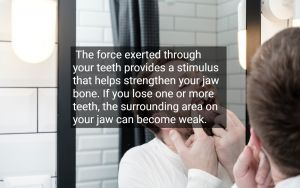 Man looking at his missing tooth in the mirror, with text - Vallejo, CA